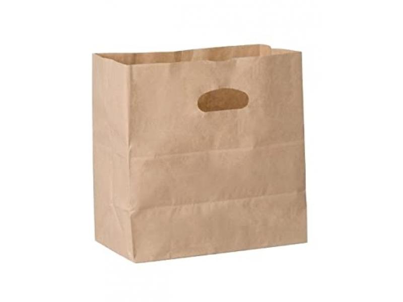 Bolsa de papel kraft sacabocado 28x25x16