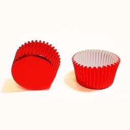 Pirotines metalizados para cupcake x100 unidades rojo